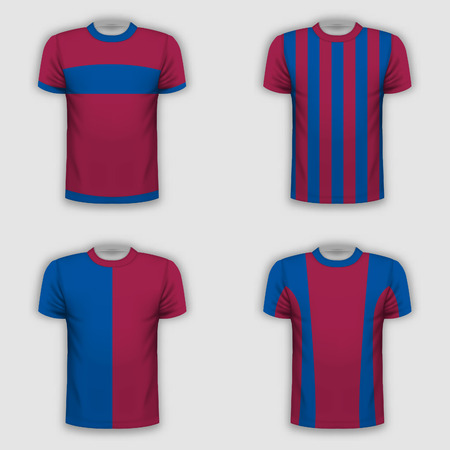 Realistic T-shirt template set for your projects. Vector illustration.