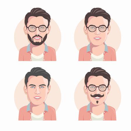 Set of cartoon vector men faces. Flat design. Vector illustration.