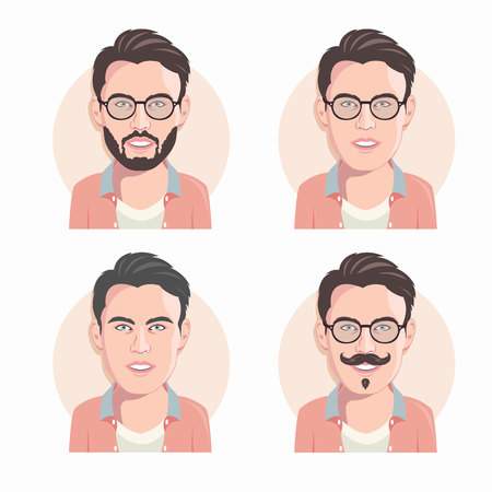 Set of cartoon vector men faces. Flat design. Vector illustration.