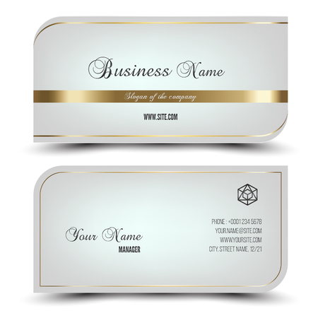 Elegant vector business card and name card,horizontal simple clean template. Vector format. Layout in rectangle size. template. Vector format. Gold and white colors. Vectores