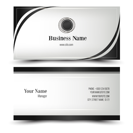 Elegant vector business card and name card,horizontal simple clean template. Vector format. Layout in rectangle size. template. Vector format. White and dark colors. Vectores