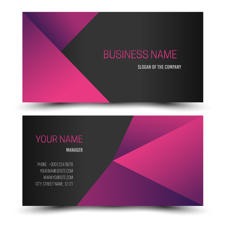 Black and dark pink modern creative business card and name card,horizontal simple clean template vector design, layout in rectangle size.
