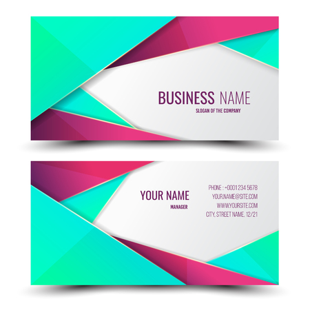 Green and pink modern creative business card and name card,horizontal simple clean template vector design, layout in rectangle size. Vectores