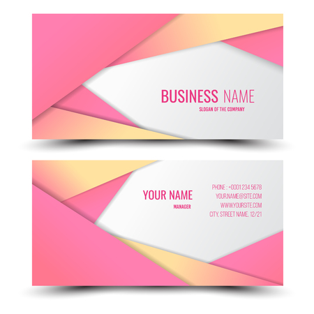 Pink and light yellow modern creative business card and name card,horizontal simple clean template vector design, layout in rectangle size.