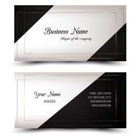Elegant vector business card and name card,horizontal simple clean template. Vector format. Layout in rectangle size. Gold, white and dark colors. Vectores