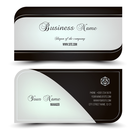 Elegant vector business card and name card,horizontal simple clean template. Vector format. Layout in rectangle size. template. Vector format. Gold, white and dark colors.
