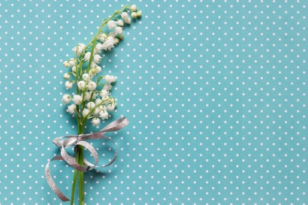Lilly of valley on blue dotted pattern background