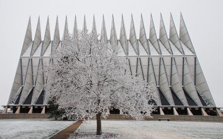 Air Force Academy Chapel and tree taken during freezing drizzle storm on a cold Winter afternoon