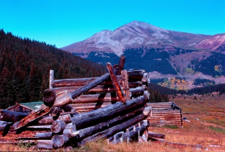 mayflower: Well preserved structures of former mining town of Mayflower Gulch near Crested Butte, Colorado Stock Photo