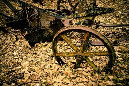 dead leaves: Maquinaria vieja y oxidada cubierta por las hojas muertas y musgo en el Museo del Antiguo en Lindsborg, Kansas