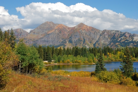 lost lake: Fall colors suuround the picturesque Lost Lake on Kebler Pass, near Crested Butte, Colorado. Stock Photo