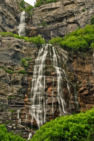 runoff: Picturesque Bridal Veil Falls is fed by spring run-off near Heber City, Utah
