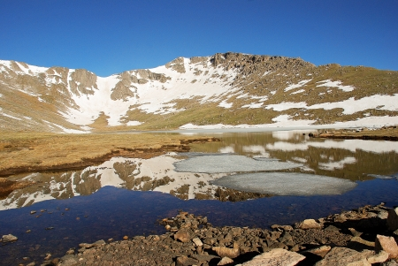 mount evans: Reflections in beautiful Summit Lake in the Mount Evans Wildereness Area on a perfect June day