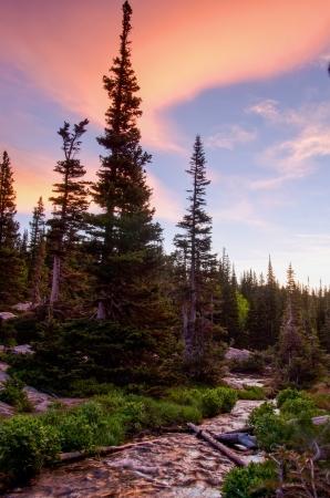 美しい日の出と塗料空、ロッキー山国立公園、コロラド州の夢湖直下クリークに反映します。