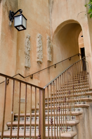 staircases: One of many interestign staircases and arches at the famous Village of Tlaquepaque. Stock Photo