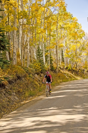 A mountian biker enjoys a beautiful fall day and colorful changing aspen trees on Gothic Road, near Crested Butte, Colorado  Editorial