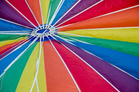 Vibrant, Beautiful close-up view of inflating hot air balloon at the annual Labor Day Balloon Festival in Colorado Springs, Colorado  photo