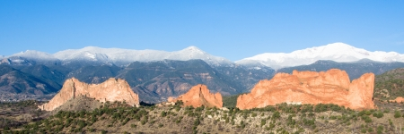 A glorious morning after a May storm left fresh snow on Pikes Peak and rain soaked the Garden of the Gods in COlorado Springs, Colorado