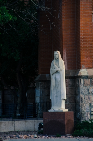 our: Our Lady of Fatima statue at St. Marys Cathedral in downtown Colorado Springs, Colorado. Stock Photo