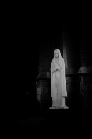 our: Our Lady of Fatima statue in black and white at St. Marys Cathedral in downtown Colorado Springs, Colorado. Stock Photo