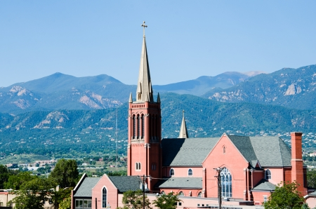 front range: Historic St  Mary s Catholic Church in downtown Colorado Springs, Colorado and the front range mountains in the background