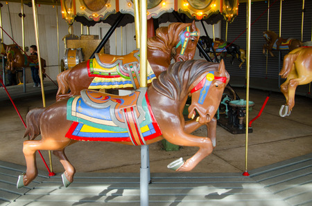 restored: Exquisitely restored vintage merry-go-round horse at world famous Cheyenne Mountain Zoo in Colorado Springs, Colorado