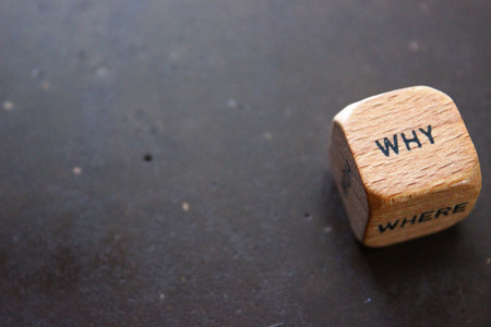 Wooden dice asking the question