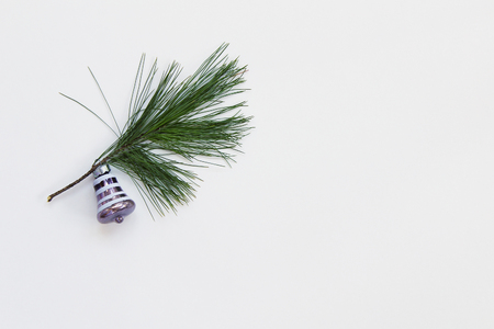 Minimalism concept of tree trimming with vintage ornament on one evergreen branch Reklamní fotografie