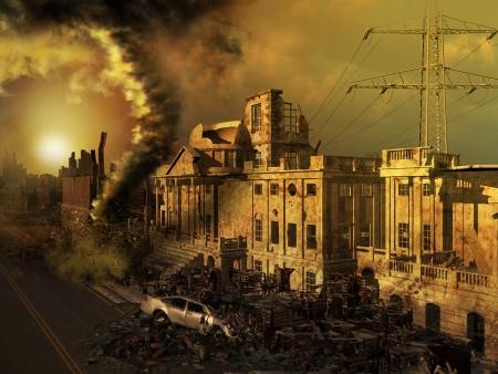 黙示録的な風景を廃墟建物や車 写真素材
