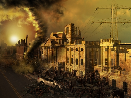 Apocalyptic scenery with ruined buildings and cars