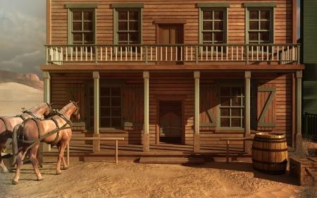 古い西の馬と建物 写真素材