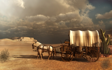 Western scenery with an old carriage