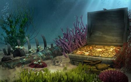 Fantasy sea bottom with a treasure chest Фото со стока - 23336775