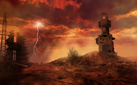 apocalyptic: Apocalyptic landscape with clock tower