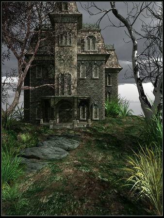 park: Haunted house in an abandoned park Stock Photo