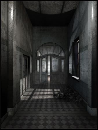 hallway: Abandoned hotel hallway