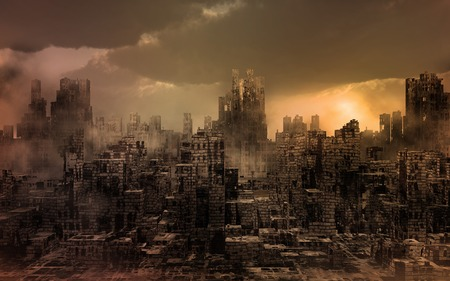 Dark apocalyptic view of a city