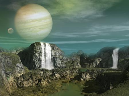 滝や湖とエイリアンの惑星の風景