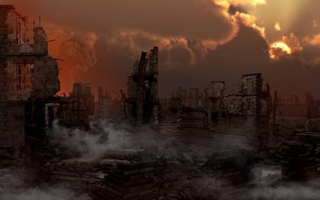 Ruined city with smoke