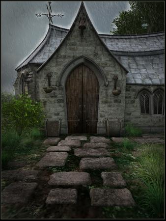 old church: Old church in the rain