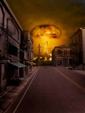 Nuclear explosion near the town