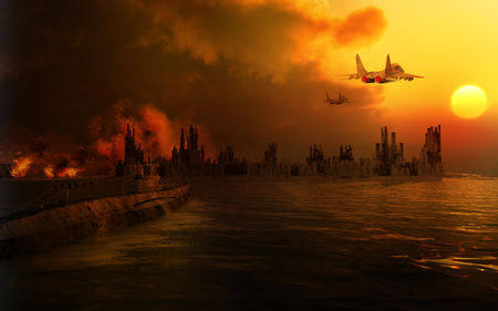 apocalyptic: Scenery of the destroyed city