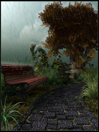 rainy day: Park bench in a rainy day