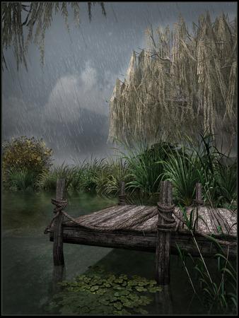 dock: Dock on a lake shore