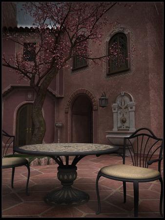 porch: Spanish patio