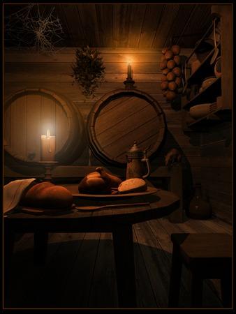 tavern: Medieval tavern interior