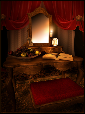 curtain background: Red dressing room