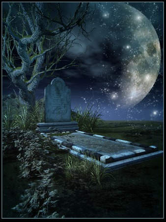 graves: Solitary grave in moonlight