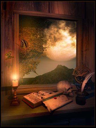 reading room: Reading room in moonlight