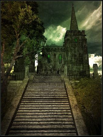 gloomy: Gloomy gothic castle Stock Photo